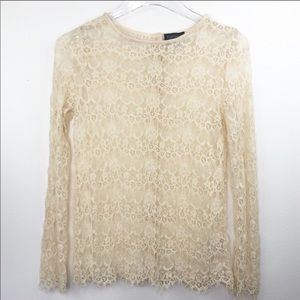 Topshop Lace long Sleeve Top Cream Button Back 0